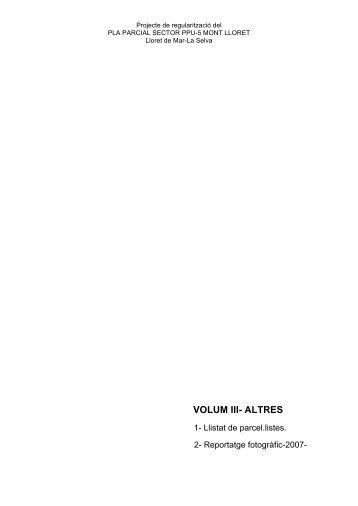 Volum III - Ajuntament de Lloret de Mar