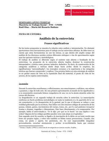 Badano María del Rosario Análisis de la entrevista. Frases ...