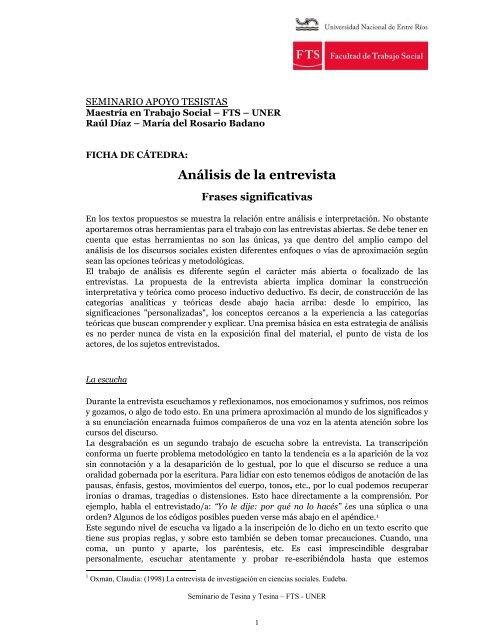 Badano Marãa Del Rosario Anãlisis De La Entrevista Frases