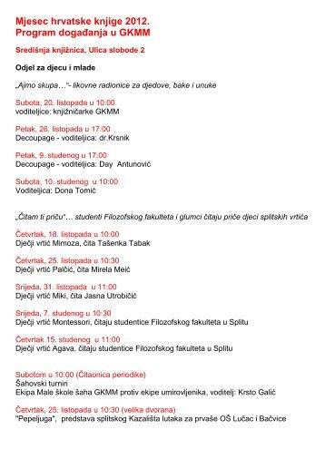 Mjesec hrvatske knjige 2012. Program događanja u GKMM
