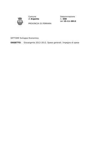 Determina n. 558 - Comune di Argenta