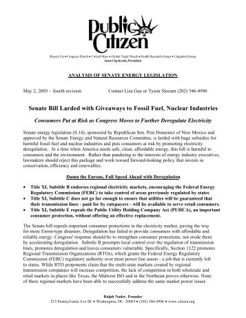 Senate Bill Larded with Giveaways to Fossil Fuel ... - Public Citizen