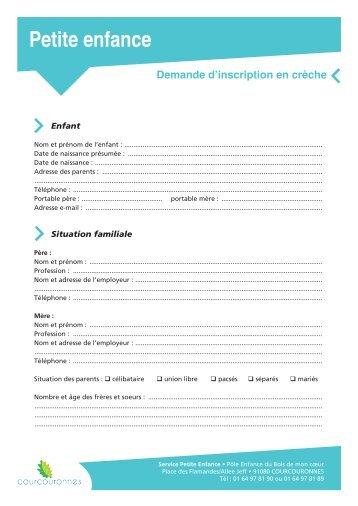 Dossier de demande d'inscription en crèche - Courcouronnes