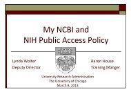 My NCBI and NIH Public Access Policy - University Research ...