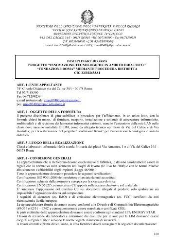 disciplinare di gara fondazione roma rettificato