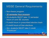 MSSE roadmap
