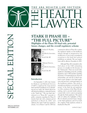 Stark II Phase III - The Full Picture - Health Law Partners, PC