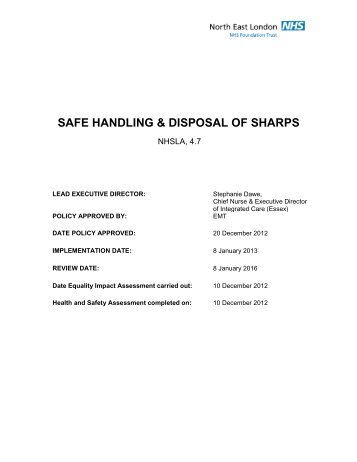 SAFE HANDLING & DISPOSAL OF SHARPS