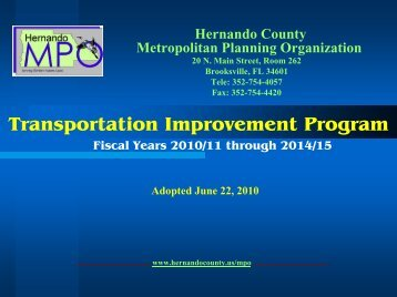 Transportation Improvement Program FY 2010 ... - Hernando County