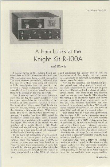 Knight-Kit R-100A - Nostalgic Kits Central