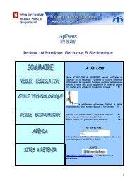 Secteur : Mécanique, Electrique Et Electronique A ... - Tunisie industrie