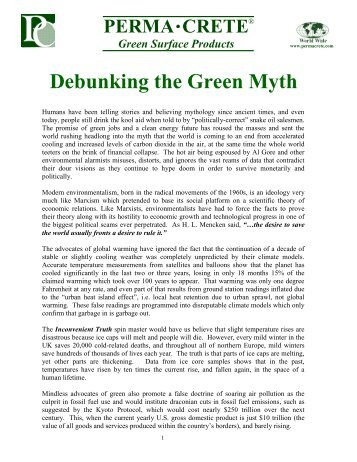 Debunking the Green Myth - PermaCrete