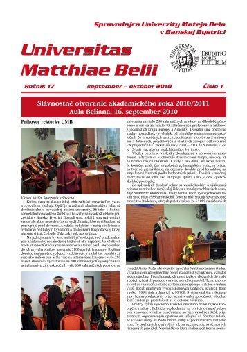 Spravodajca UMB 1/2010 - Univerzita Mateja Bela