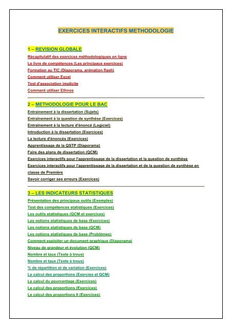 Exercices Interactifs Methodologie