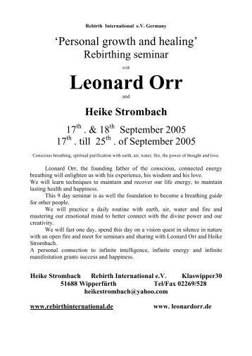 Leonard Orr - Ausbildungsinstitute.de