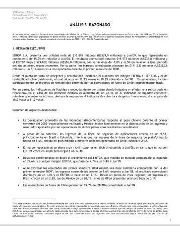 Análisis Razonado SONDA Consolidado JUN-09