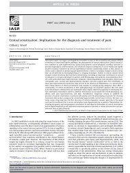 Central sensitization: Implications for the diagnosis ... - ResearchGate