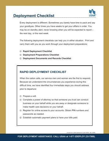 Deployment Checklist - USAA