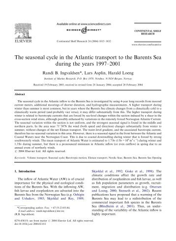 The seasonal cycle in the Atlantic transport to the Barents Sea ...