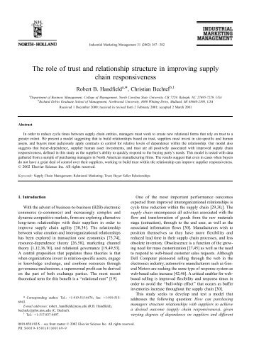 The role of trust and relationship structure in improving supply chain ...