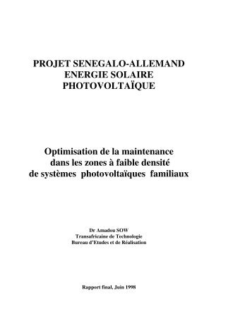PROJET SENEGALO-ALLEMAND ENERGIE SOLAIRE ... - RIAED