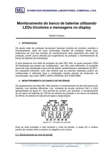 Monitoramento do banco de baterias utilizando LED's ... - SEL