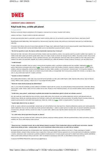 Strona 1 z 2 iDNES.cz - MF DNES 2009-11-11 http://zpravy.idnes.cz ...