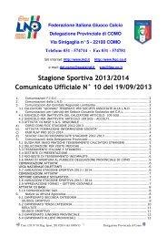 COMUNICATO n.10 del 19/09/2013 - Lariosport