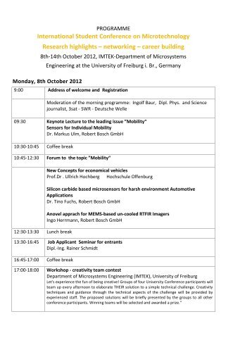 International Student Conference on Microtechnology Research ...