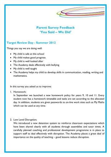 Parent Survey Feedback 'You Said – We Did' - Bedford Academy