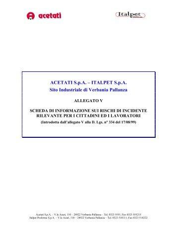 Scheda Acetati - Italpet - Comune di Verbania