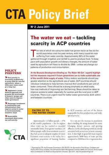 Policy Brief: The water we eat – tackling scarcity in ACP countries