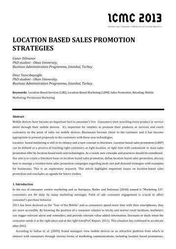 location based sales promotion strategies - Sosyal Bilimler Enstitüsü