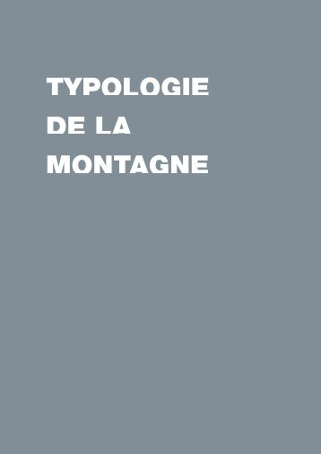 TYPOLOGIE DE LA MONTAGNE - Datar