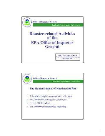 Disaster-related Activities of the EPA Office of Inspector General