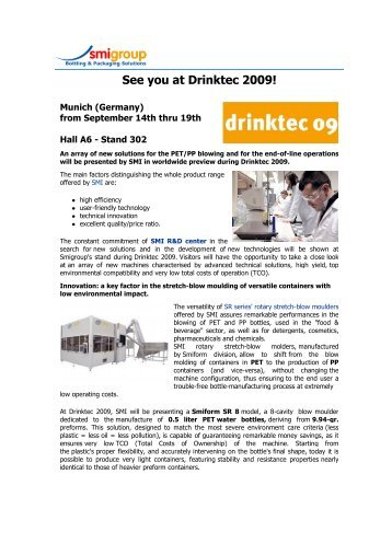 See you at Drinktec 2009! - PET blow moulders