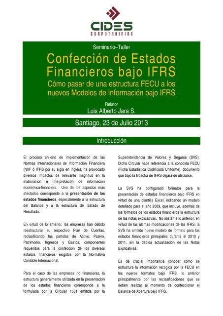 Confección De Estados Financieros Bajo Ifrs Cides