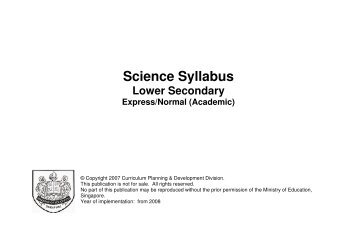 2008 Science (Lower Secondary) - Ministry of Education