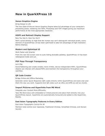 New in QuarkXPress 10 - English - Micromail