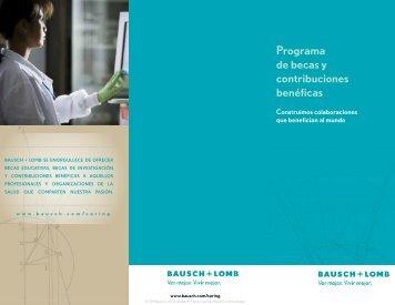 Programa de becas y contribuciones benéficas - Bausch + Lomb