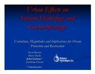 Urban Effects on Stream Hydrology and Geomorphology: - Balance ...