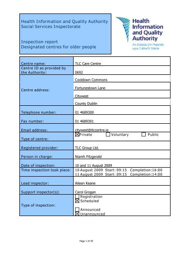 TLC City West 0692 nursing home inspection report - hiqa.ie