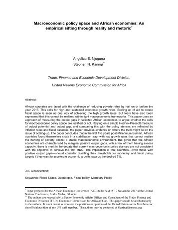 Macroeconomic policy space and African economies: An empirical ...