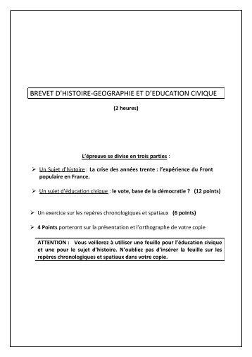 BREVET D'HISTOIRE-‐GEOGRAPHIE ET D'EDUCATION CIVIQUE