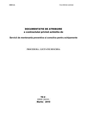 DOCUMENTATIE DE ATRIBUIRE a contractului ... - Nuclearelectrica