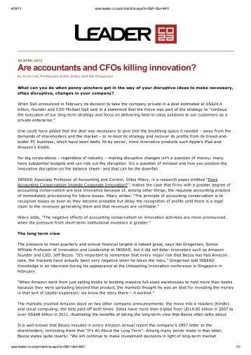 Are accountants and CFOs killing innovation?
