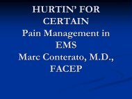 Hurtin' For Certain: Pain Management in EMS - Gathering of Eagles