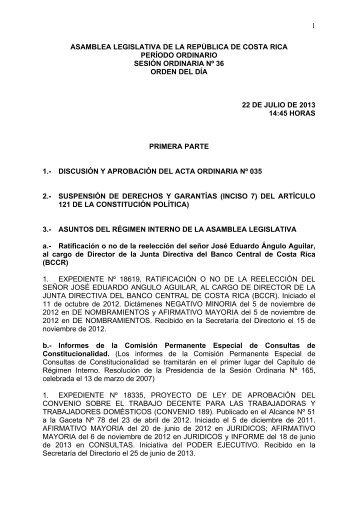 1 asamblea legislativa de la república de costa rica período ...