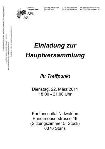 Einladung und Traktanden 2011 - SBK Sektion Zentralschweiz