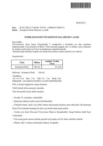 Kompozit Deck Malzeme ve işilik - İzmir Ekonomi Üniversitesi